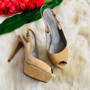 SERGIO ROSSI Suede tan nude platform heels 37 7